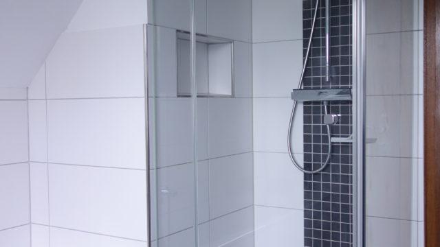 Aufteilung ist uns Wichtig! Das Duschpanel ist mittig zum Mosaik.
